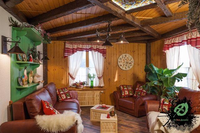 Готовый дизайн гостиной дачного домика