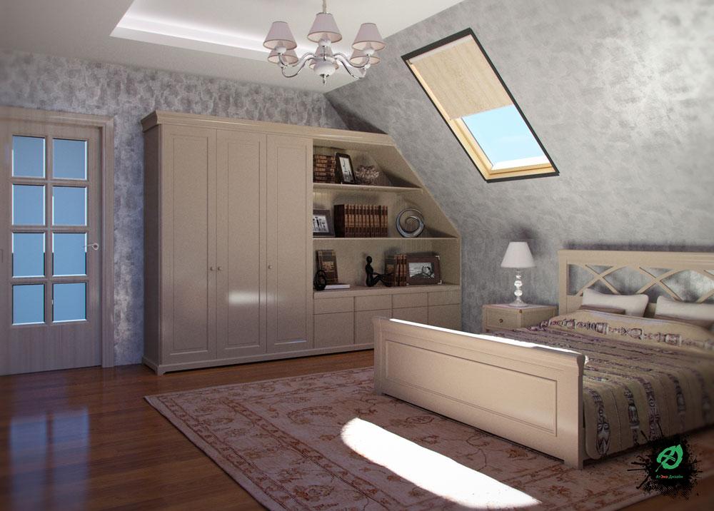Дизайн спальни родителей в стиле Шале