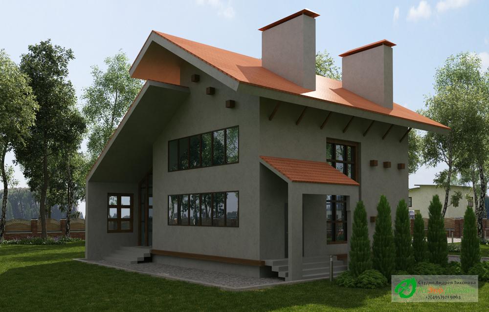 Архитектурный проект дома 220м2 в стиле модерн фасад