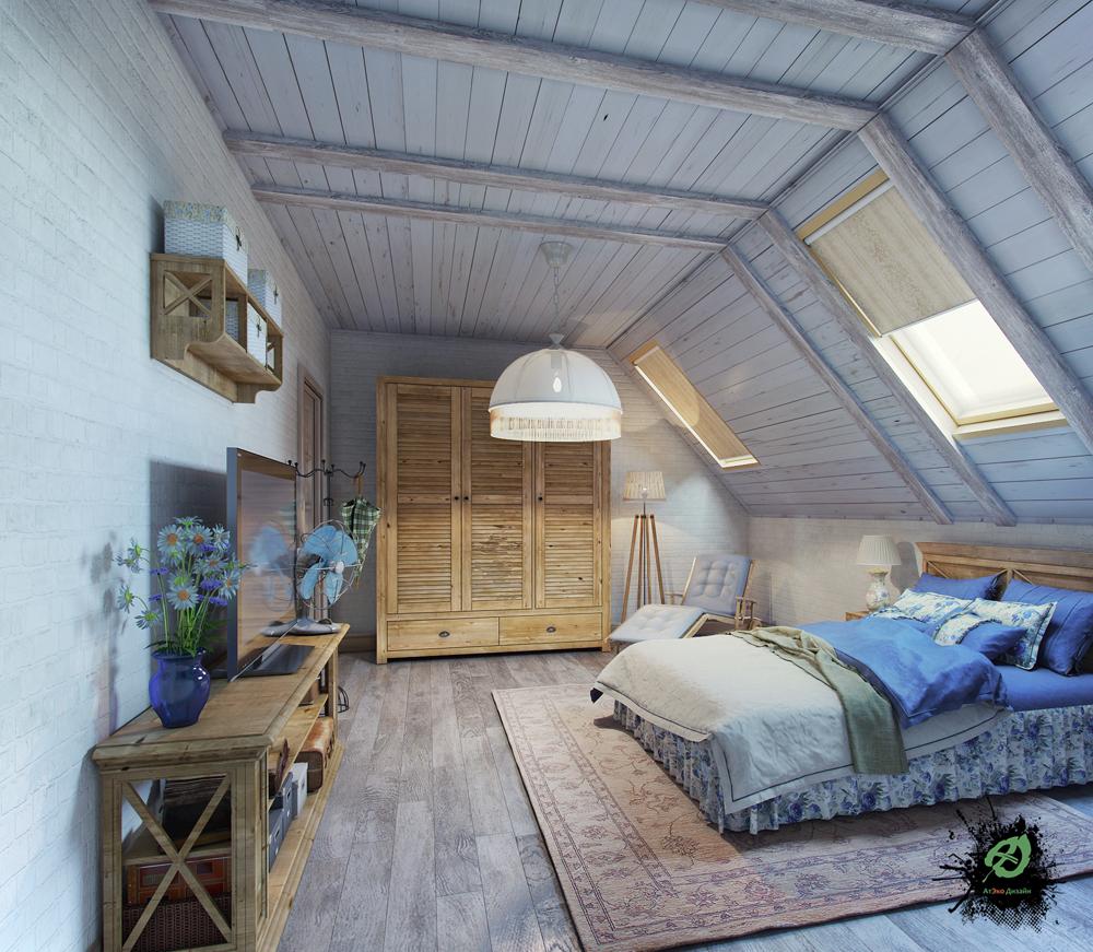 Дизайн спальни для гостей в стиле Шале