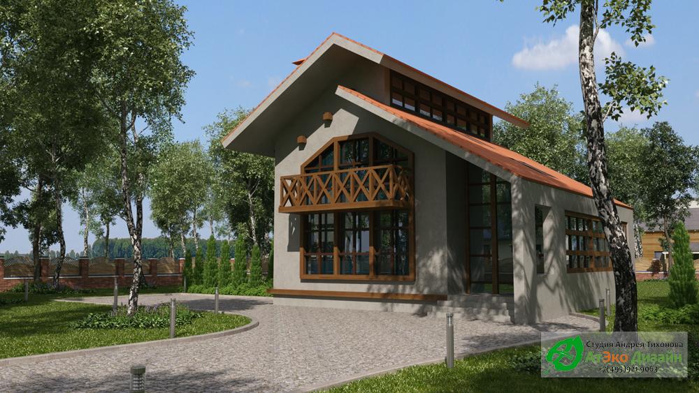 Архитектура дома 220м2 в стиле модерн вид со двора