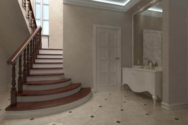 Фото дизайн лестницы в доме в классическом стиле