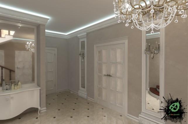 Фото дизайн прихожая-холл дома в классическом стиле