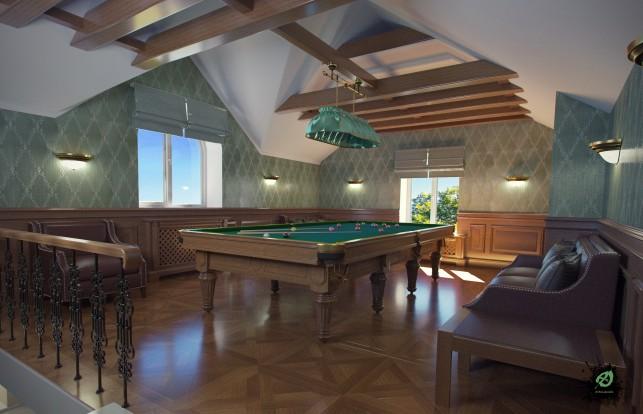 Фото дизайна бильярдной в доме в классическом стиле