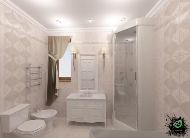 Фото дизайна санузла в доме в классическом стиле