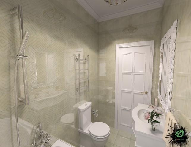 Фото дизайна ванной комнаты в доме в классическом стиле