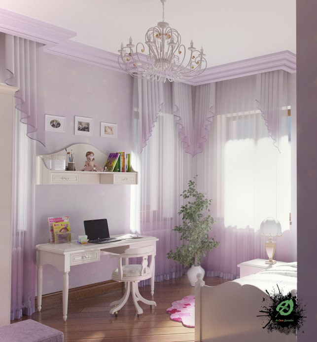 Фото дизайна детской комнаты в классическом стиле принцессы