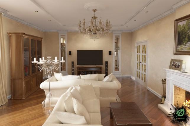 Дизайн гостиной с камином в классическом стиле дом 350м2