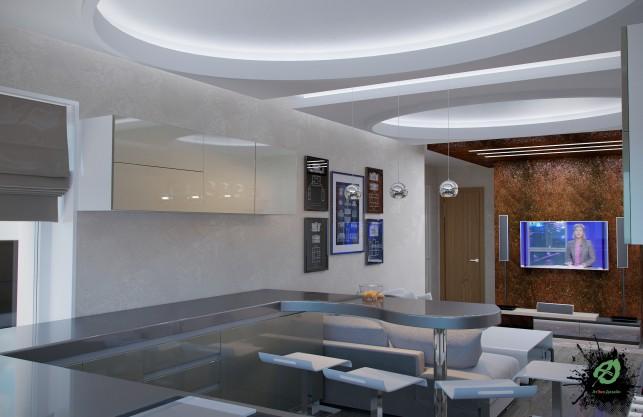Дизайн гостиной в серых тонах 3-х комнатная квартира на Таганке