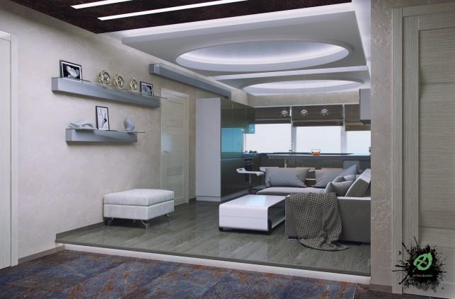 Фото дизайна гостиной в серых тонах 3-х комнатная квартира на Таганке