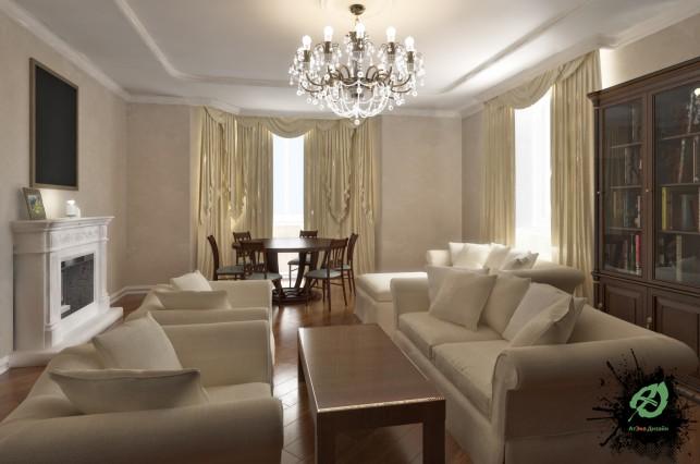 Дизайн гостиной ома с камином в классическом стиле