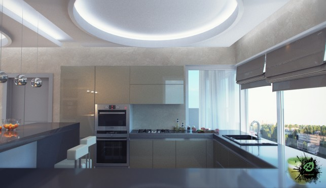 Фото дизайна кухни в серых тонах 3-х комнатная квартира на Таганке