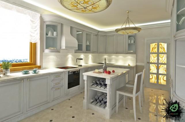 Дизайн кухни дома в классическом стиле