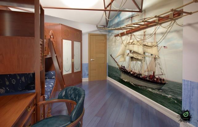 Фото дизайна детской комнаты в морском стиле 3-х комнатная квартира на Таганке