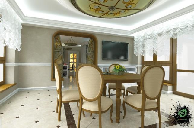 Фото дизайн кухни с обеденным столом в классическом стиле