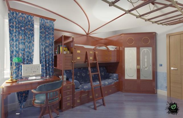 Дизайн детской комнаты в морском стиле вид кровати и письменного стола