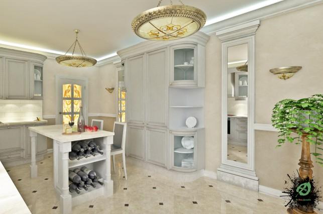 Фото дизайн кухни дома в классическом стиле