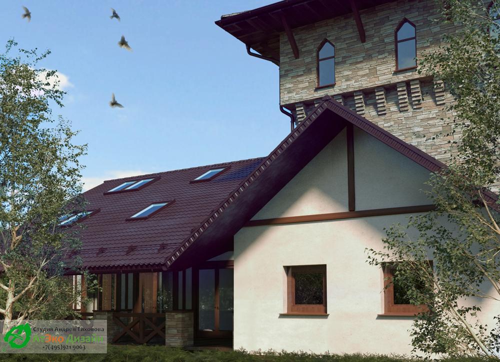 Фасад гостевого дома по архитектурному проекту от студии дизайн АтЭко дизайн