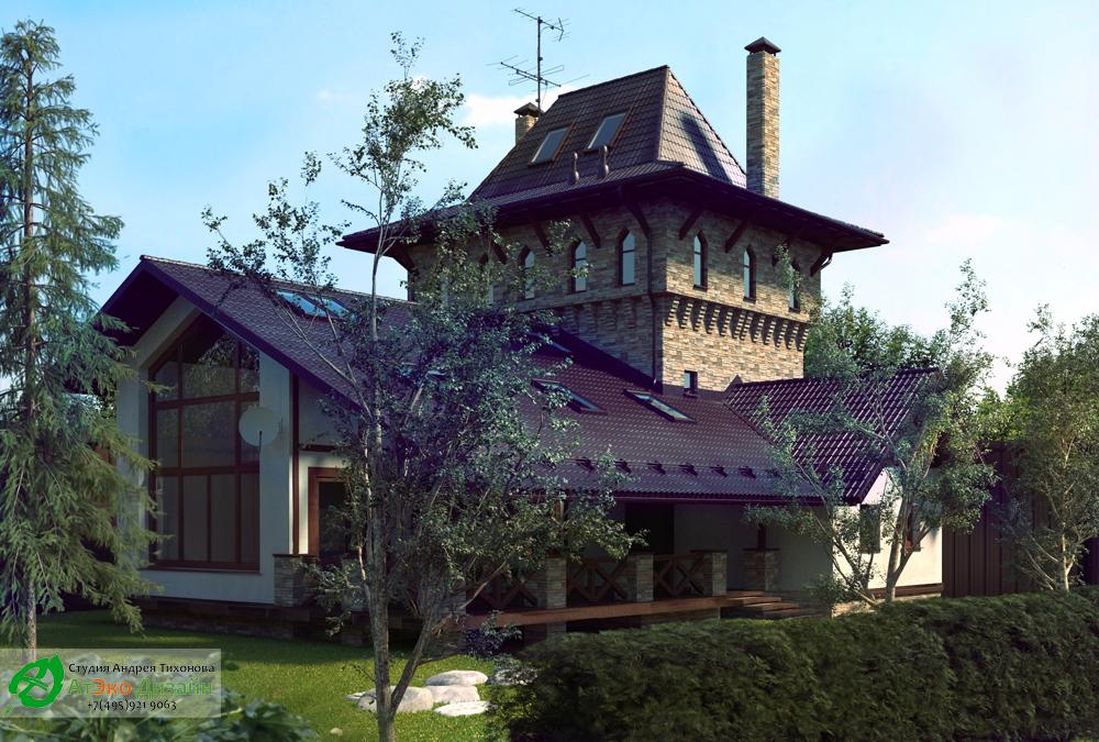 Фасад гостевого дома по архитектурному проекту студии АтЭкоДизайн