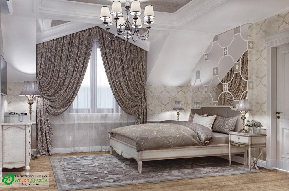 Дизайн интерьера спальни дочери с мужем на втором этаже загородного дома в классическом стиле