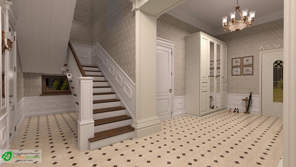 Дизайн интерьера холла на первом этаже