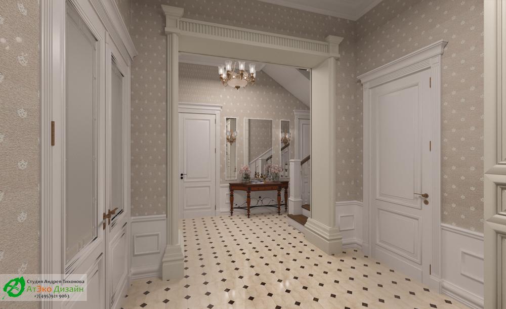 Дизайн интерьера холла на первом этаже в классическом стиле
