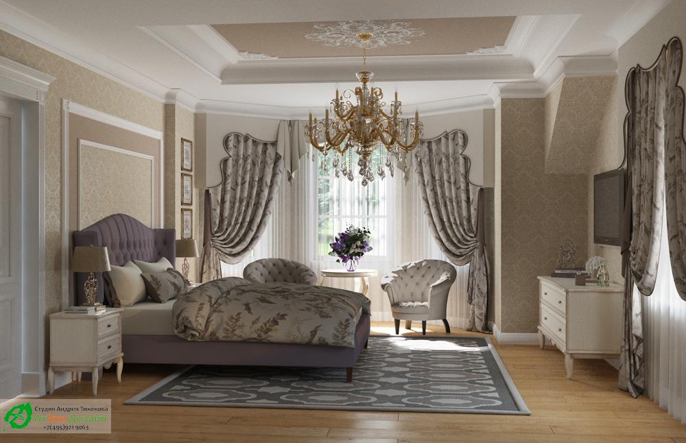 Дизайн интерьера главной спальни на втором этаже загородного дома в классическом стиле