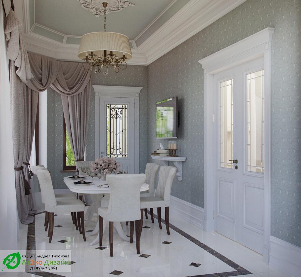 Дизайн интерьера комнаты для трапезы на первом этаже загородного дома в классическом стиле