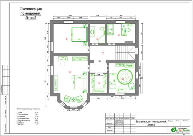 Планировка второго этажа загородного дома 215м2