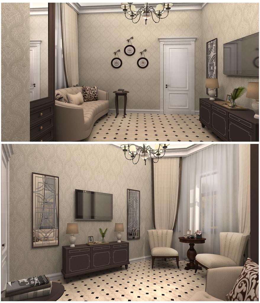 Дизайн интерьера гостевой комнаты на первом этаже загородного дома в классическом стиле