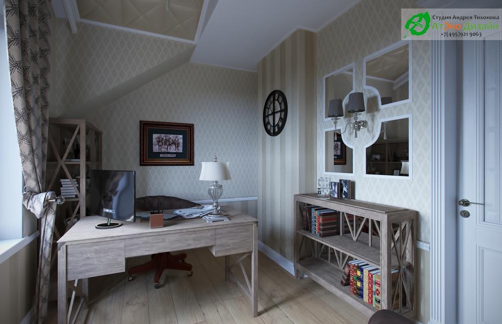 Дизайн интерьера рабочего кабинета на втором этаже загородного дома в классическом стиле