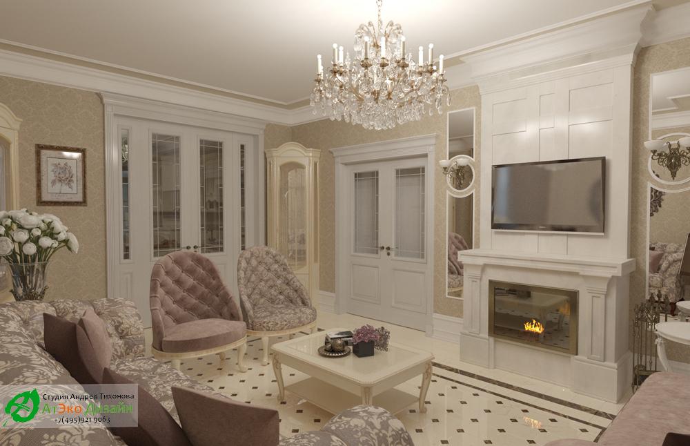 Дизайн интерьера гостиной с камином на первом этаже загородного дома в классическом стиле