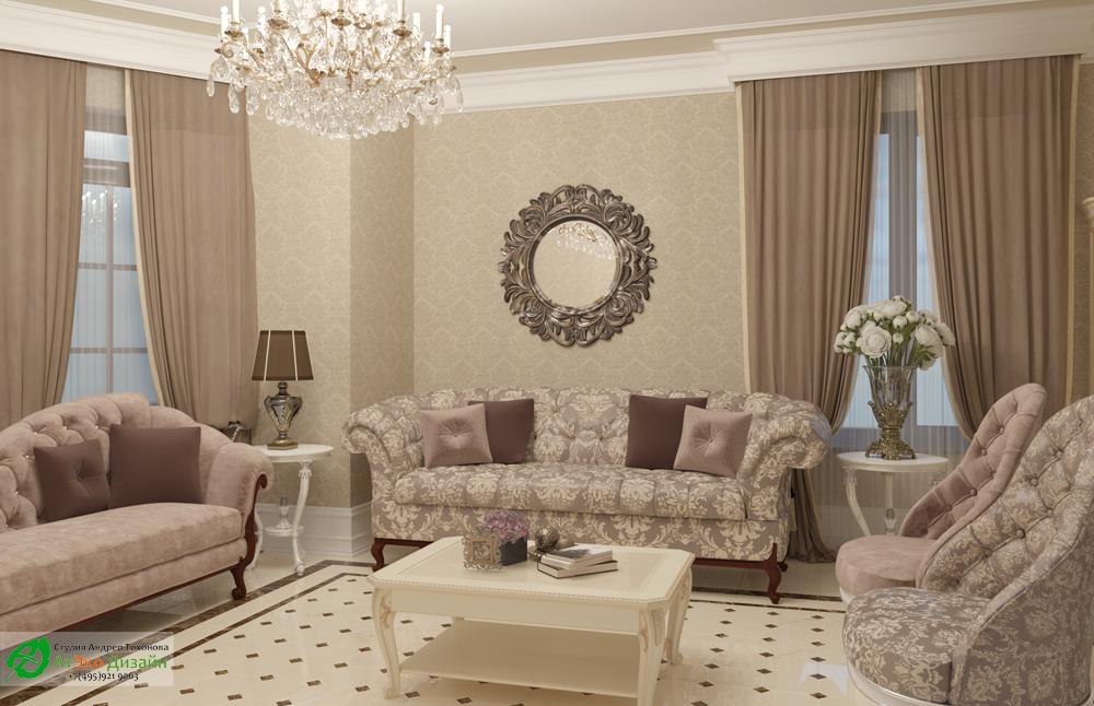 Дизайн интерьера гостиной на первом этаже загородного дома в классическом стиле