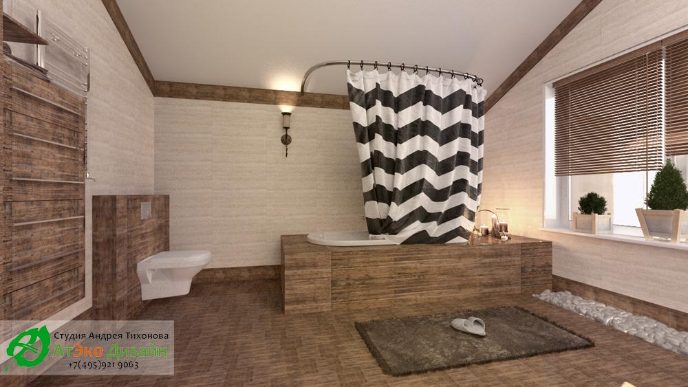 Дизайн большой ванной комнаты в доме 260м2 в современном стиле