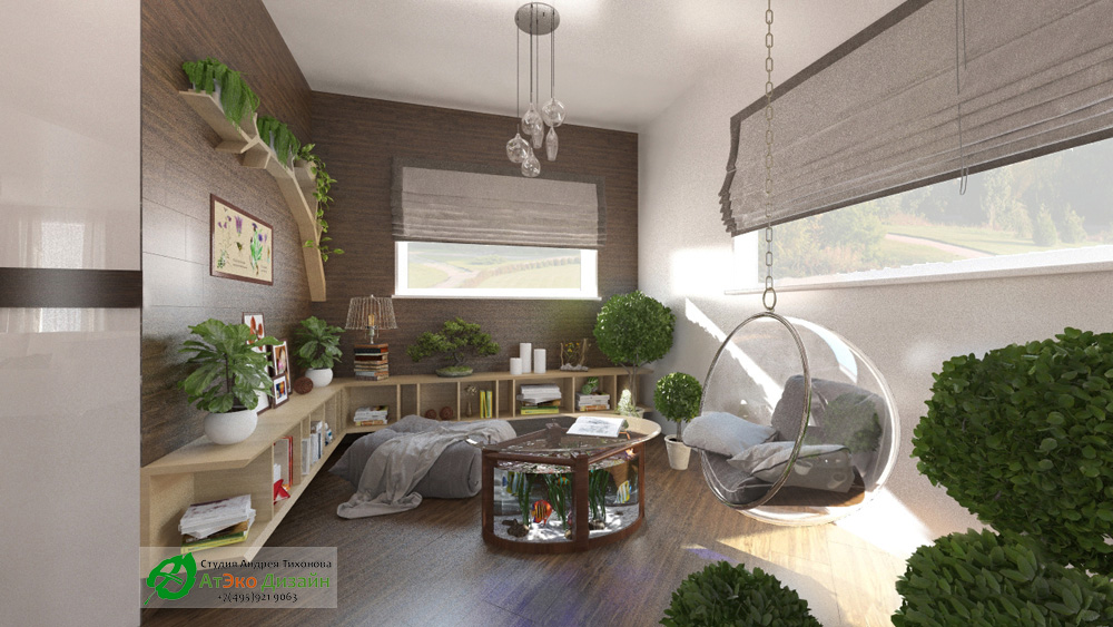Дизайн комнаты с дендрарием в современном стиле