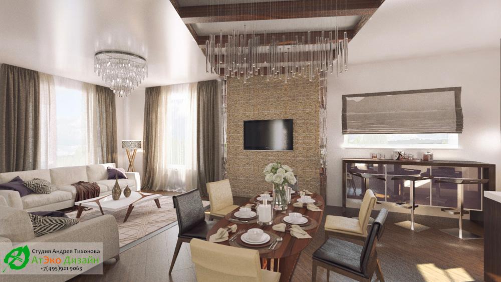 Дизайн гостиной дома 260м2 в современном стиле