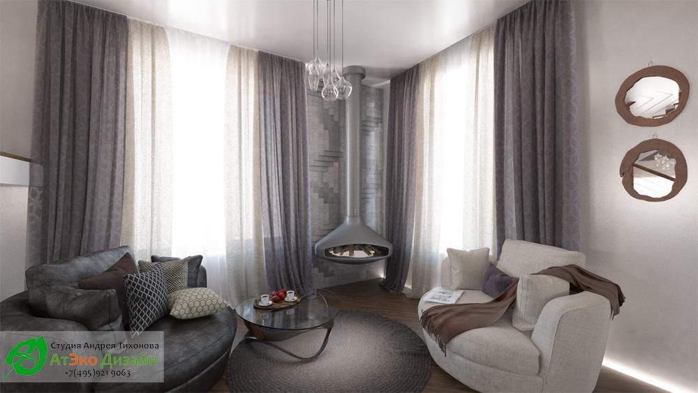 Дизайн комнаты с камином в доме 260м2 в современном стиле