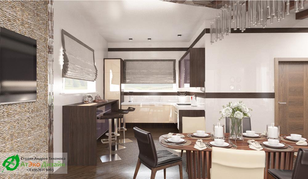 Дизайн кухни дома 260м2 в современном стиле