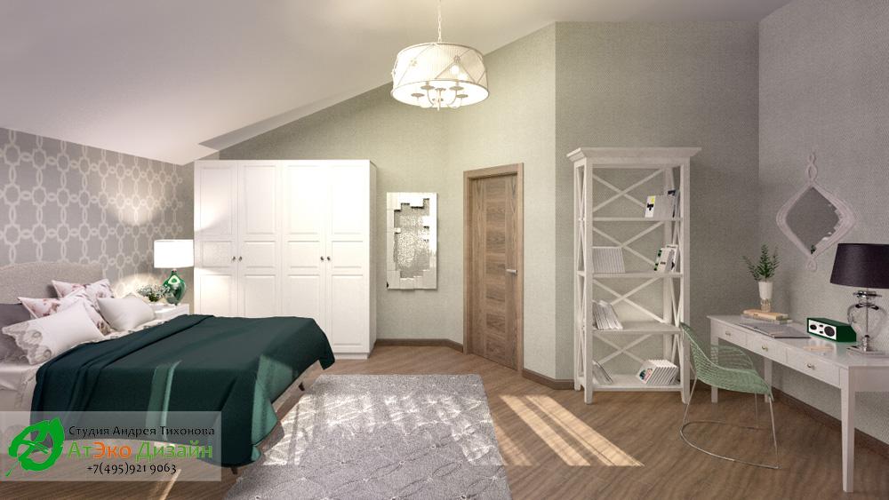 Дизайн просторной спальни дома 260м2 в современном стиле