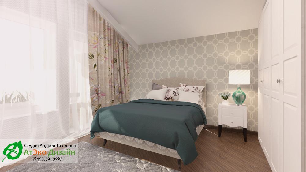 Дизайн спальни дома 260м2 в современном стиле в светлых тонах