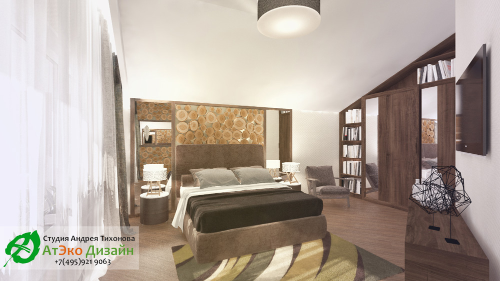 Дизайн спальни для супругов дома 260м2 в современном стиле