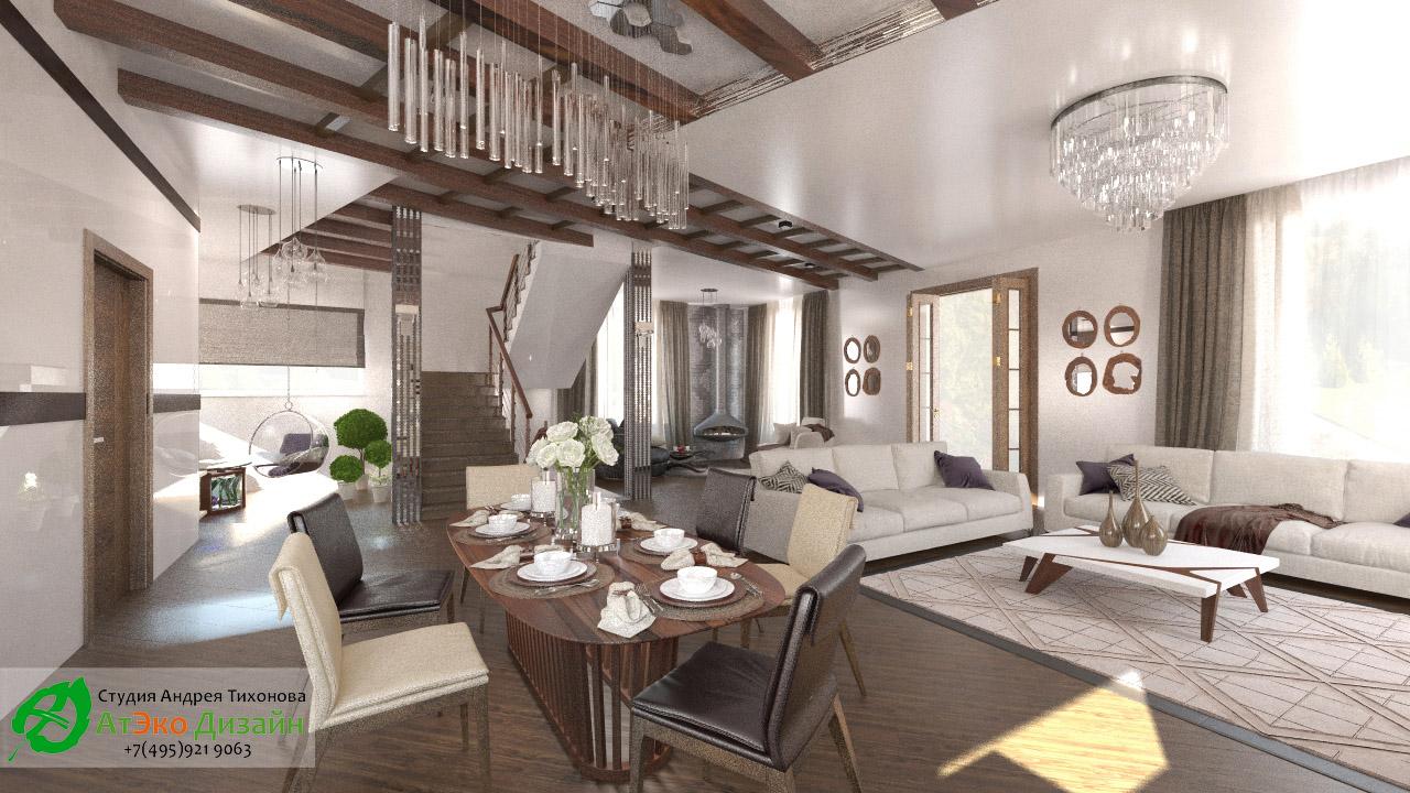 Дизайн столовой дома 260м2 в современном стиле