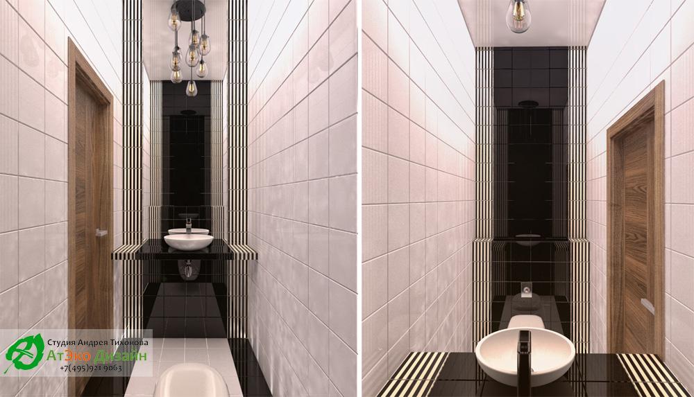 Дизайн туалета в доме 260м2 в современном стиле