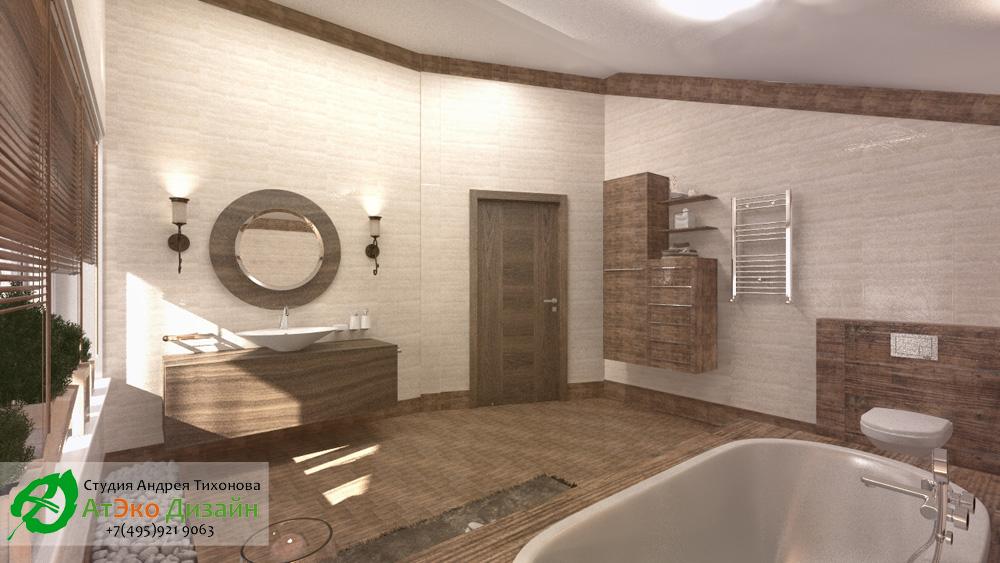 Дизайн ванной комнаты в доме 260м2 в современном стиле