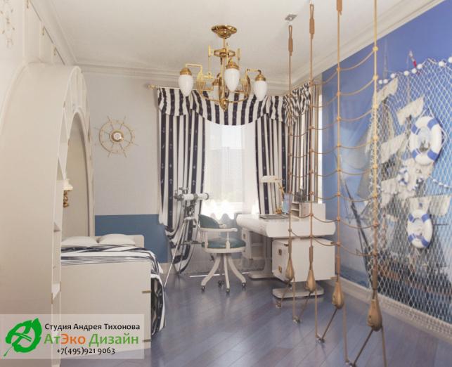 вид готового дизайна детской комнаты в морском стиле