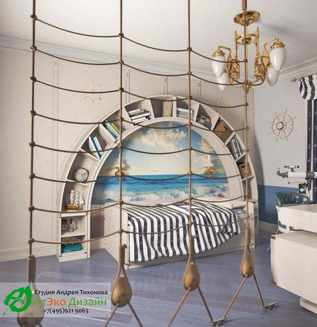 Фото дизайна детской комнаты в морском стиле