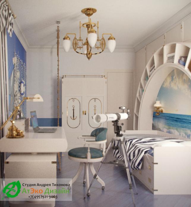 Дизайн-проект детской комнаты в морском стиле