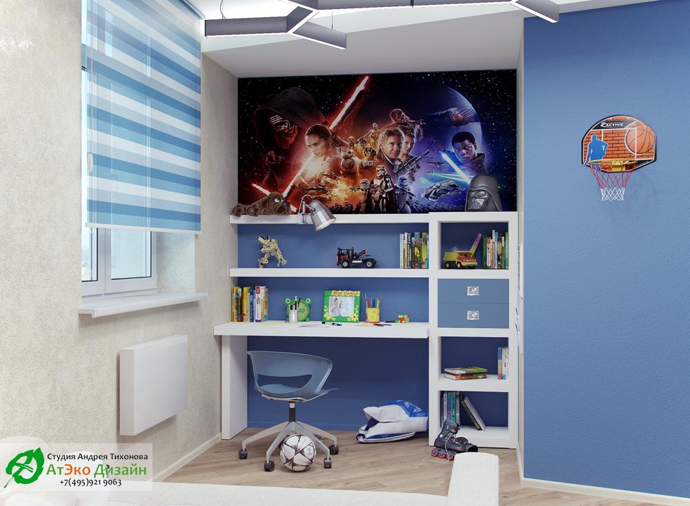 Фото дизайна детской комнаты с вставками star wars в стиле минимализм