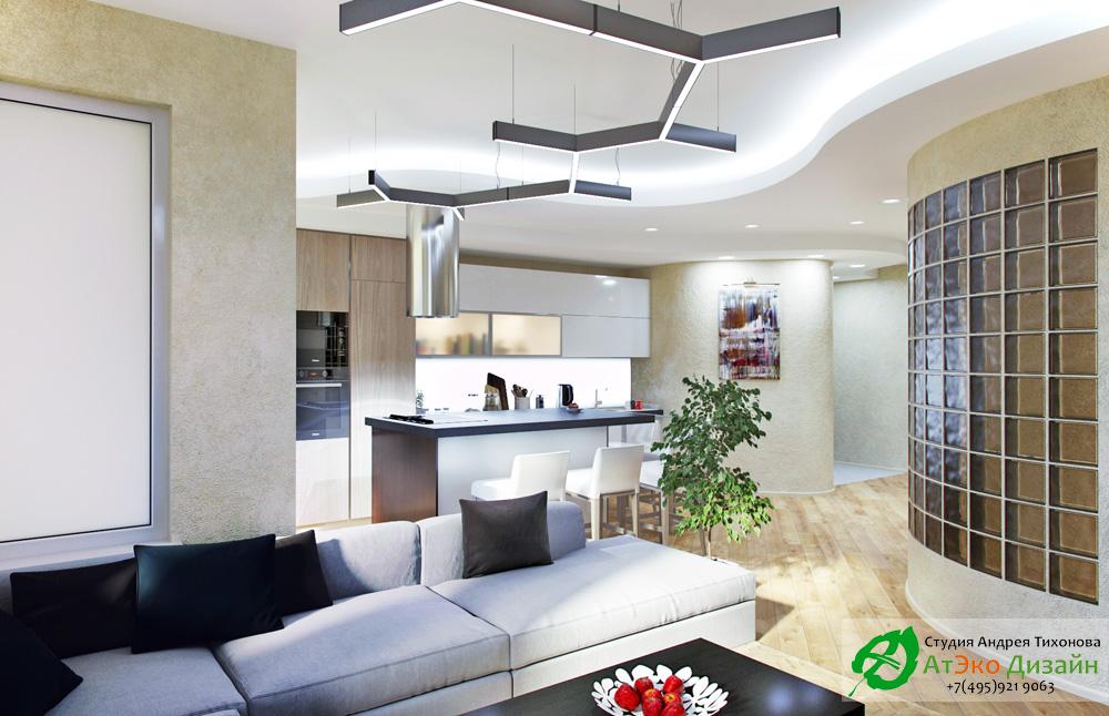 Фото кухня и гостиная в квартире в стиле Минимализм