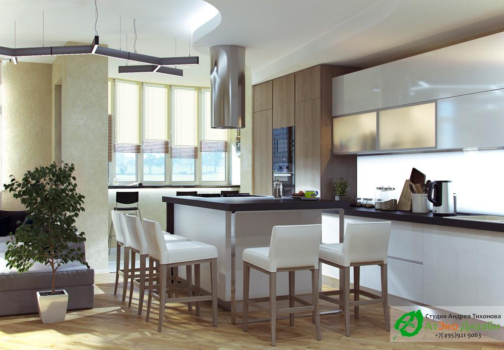 Фото кухня в в квартире в стиле Минимализм